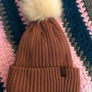 Garage pink/brown hat with Pom Pom